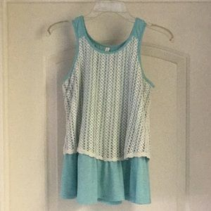 Teal Tank Top w/Cream Crocheted Overlay Sz 14/16